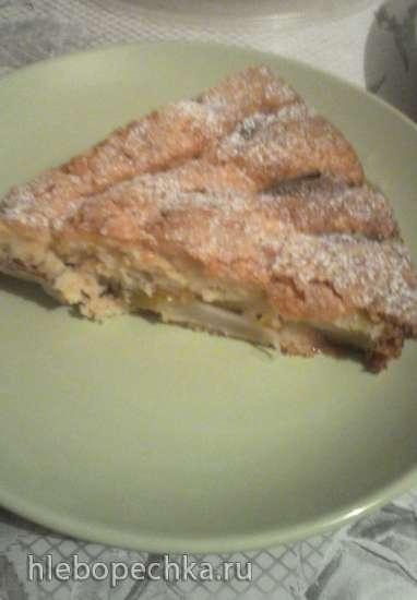 Пирог с грушами из творожного теста
