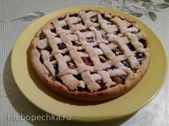Тарт  с сухофруктами и яблоками в карамели