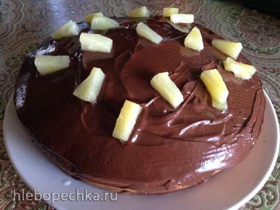 Кекс с ананасами и шоколадной глазурью в мультиварке BORK U700