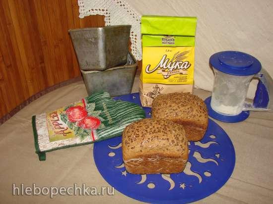 Пшенично-ржаной хлеб 50х50  на жидких дрожжах (духовка)