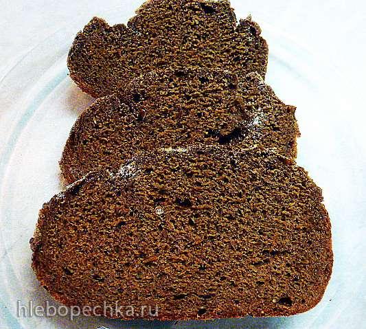 Ржано-пшеничный хлеб с льняной мукой на закваске, настое чайного гриба в хлебопечке