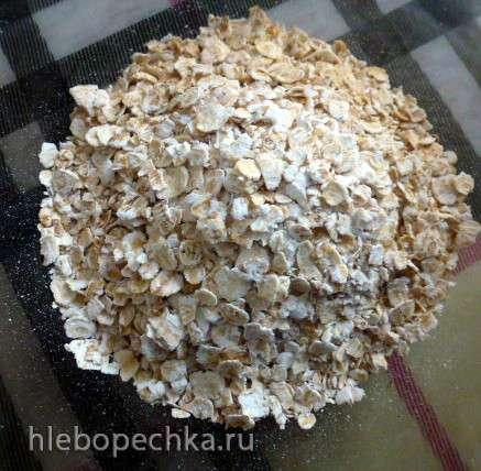 Белый постный  хлеб с геркулесом и шротом зародышей пшеницы, яблоком и кокосовым маслом
