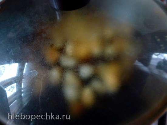Крем-суп из топинамбура с жареными дождевиками