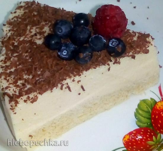 Фруктовый торт-суфле на корже с мукой без крахмала (для здорового питания)