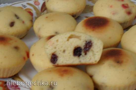 Кукурузно-лимонные кексы с сухофруктами (с псиллиумом)