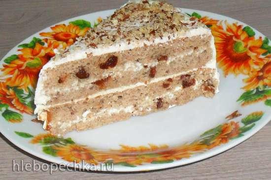 Лёгкий пирог из гречки с черносливом и творожным кремом (без глютена )