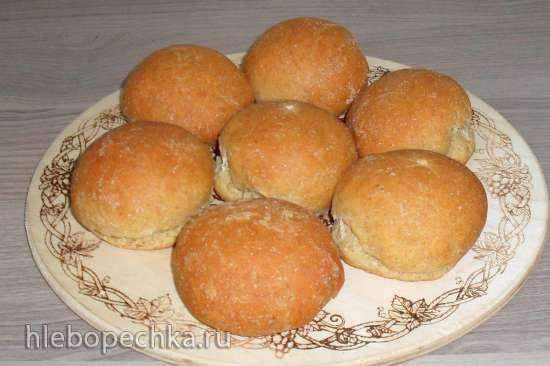 Хлебные булочки на йогурте с цельнозерновой мукой из холодного теста