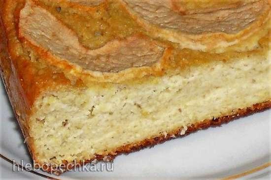 Пирог нутовый с  творогом и яблоками