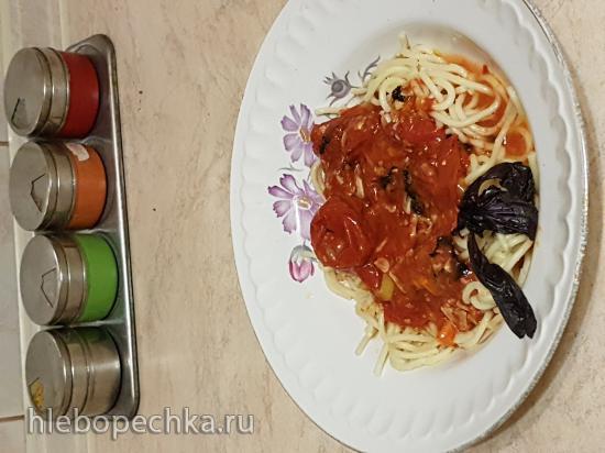 Спагетти с запеченными помидорами (постные)