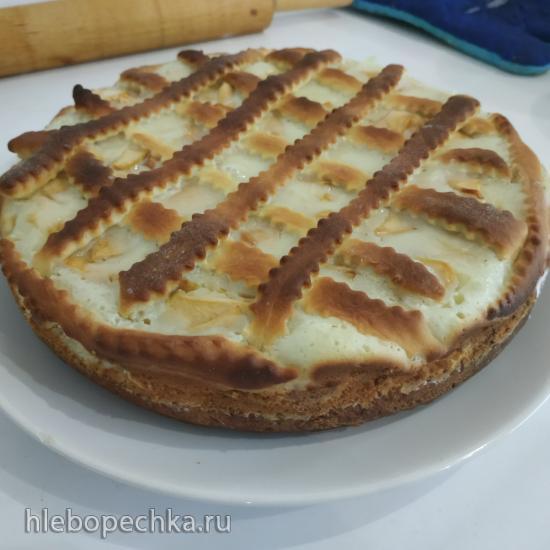 Пирог яблочный открытый из творожного теста