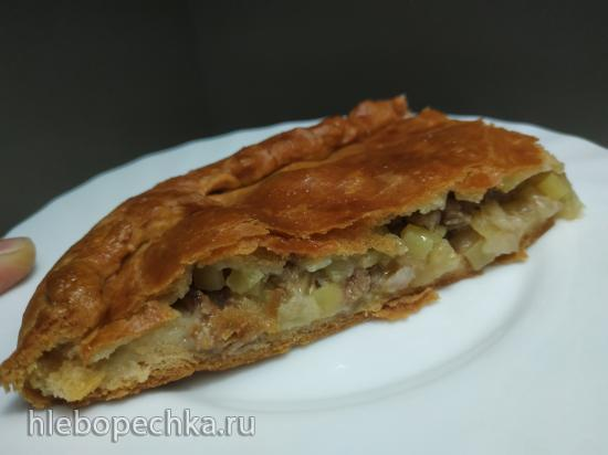 Пирог с мясной начинкой из псевдослоеного теста на сыворотке