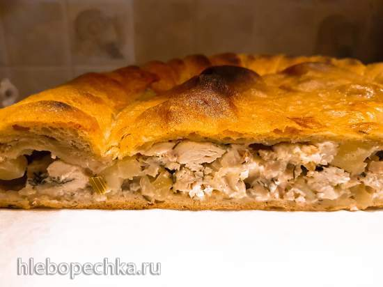 Сочный куриный пирог на ржано-пшеничном тесте или любом по вашему выбору (духовка или пиццапечь Принцесс)