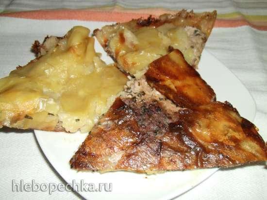 Запеканка из лепестков картофеля и куриного фарша в пиццамейкере Princess 115000 (рецепт мужа)