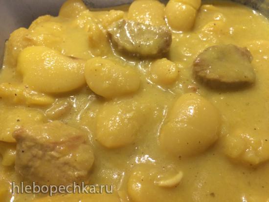Фасоль Лима с индейкой в сливочном соусе