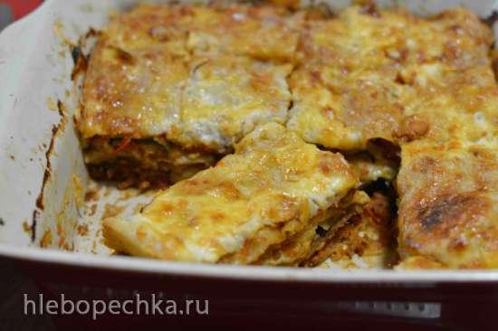 Лазанья с мясным соусом и баклажанами