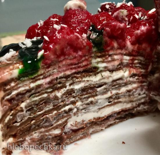 Блинный тортик из двух видов муки с творожно-сырным кремом