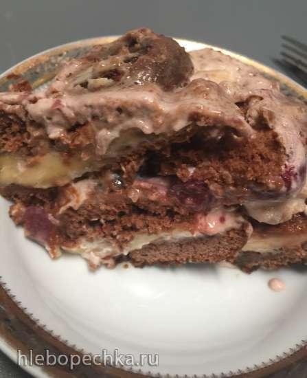 Торт из пряников с бананами и сметаной (без выпечки)
