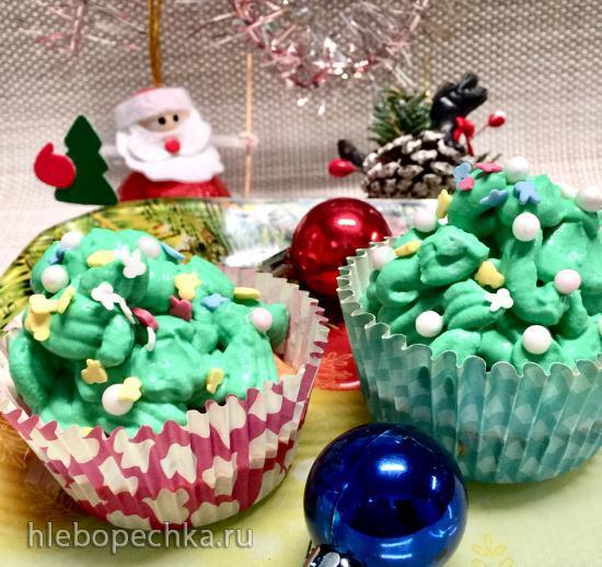 Капкейки облегченные «Новогодние елочки»