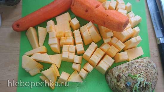 Суп-пюре Для тех, кому нечем жевать из нута, тыквы, моркови и сельдерея