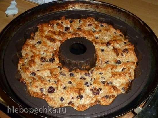 Творожный пирог с отрубями и консервированным ананасом