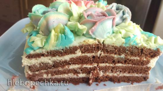Безглютеновый бисквитный торт на рисовой муке с какао и двумя видами заварного крема..