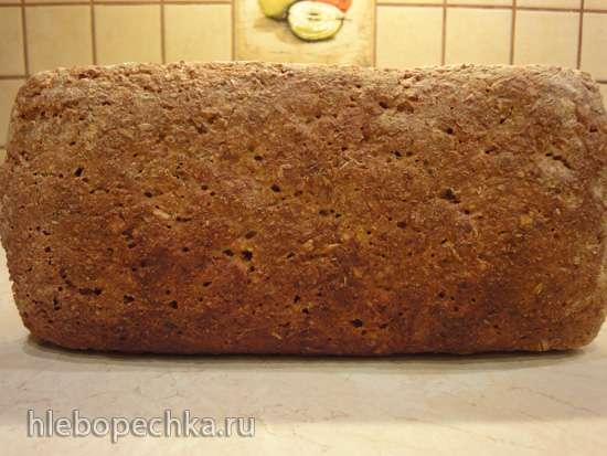 Геркулесовый хлеб на хмелевой закваске из ржаной муки с нуля (в духовке)