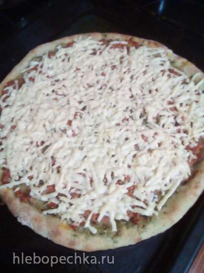 Пицца с солеными огурцами на огуречном тесте на жидких дрожжах