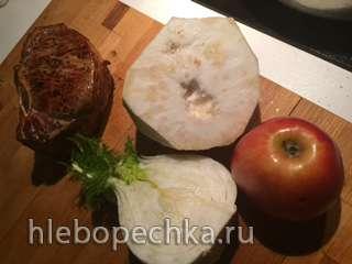 Двойной антрекот из свинины с корнем сельдерея и яблоками