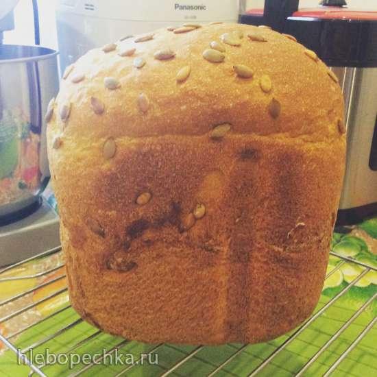 Хлеб тыквенный с цельнозерновой мукой в хлебопечке Panasonic 2500-2512