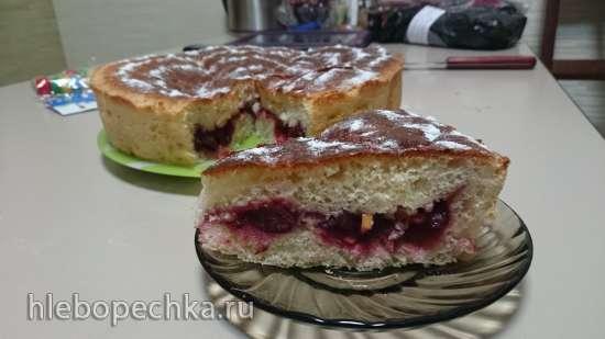 Быстрый дрожжевой пирог с вишней