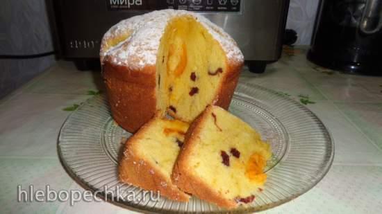 Кекс в хлебопечке с вяленой вишней и абрикосами