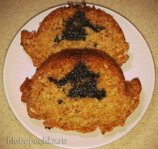 Кекс медовый из цельнозерновой муки с клюквой и шоколадом (вариант с маком) в духовке