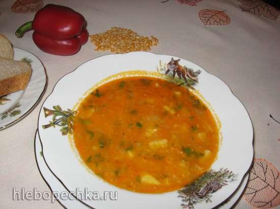 Постный гороховый суп с копчёной паприкой (мультиварка Redmond RMC-02, газовая панель)