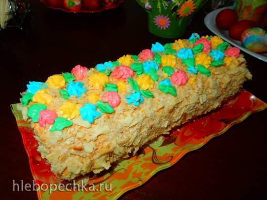 Торт Полено из слоеного теста (быстрый Наполеон)