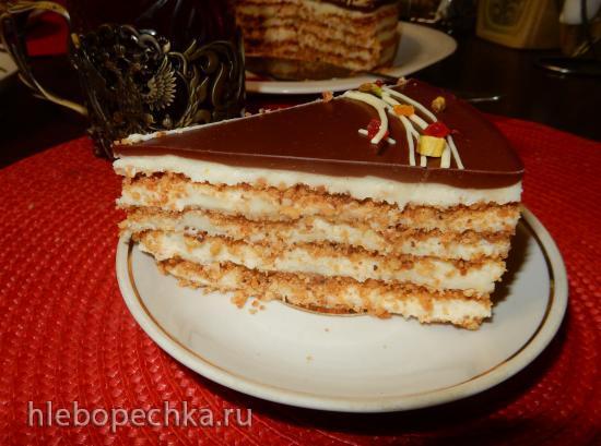 Торт без выпечки с жареной крошкой