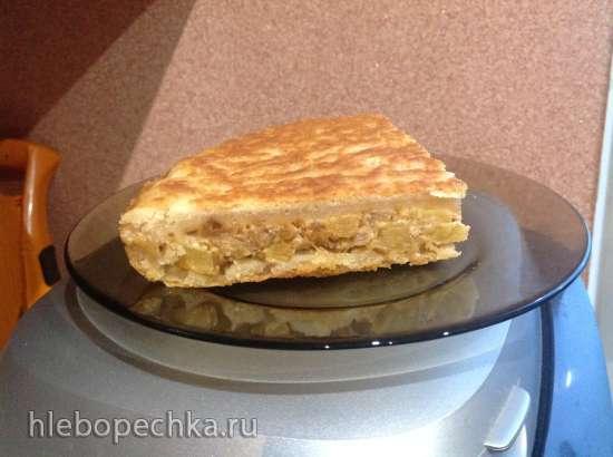 Пирог из творожного теста с кабачками