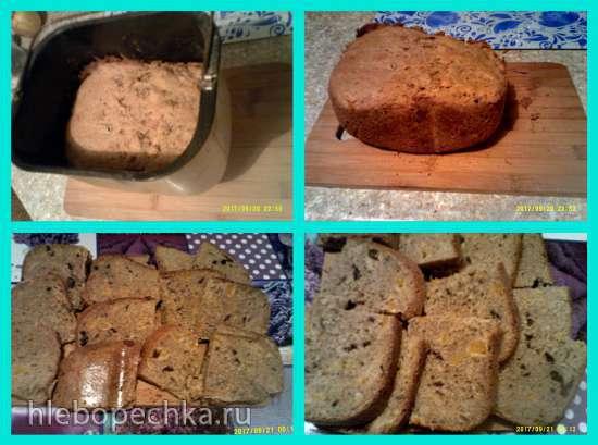 Ржаной хлеб с курагой, черносливом и фундуком (хлебопечка)