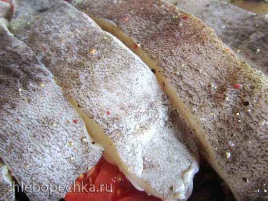 Запечёный палтус на овощной перине