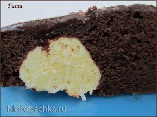 Пирог шоколадный с творожными шариками