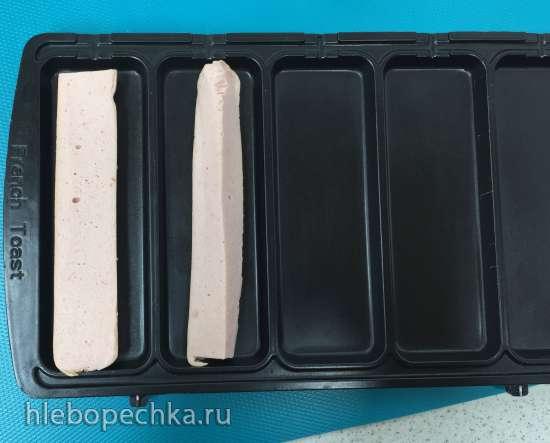 Сосиски в тесте из наливного дрожжевого теста в мультипекаре Redmond