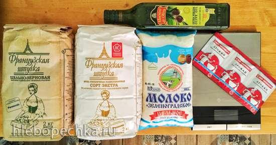 Пшеничный цельнозерновой опарный хлеб на молоке с мёдом (хлебопечка)