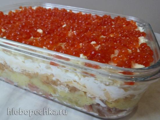 Праздничный салат с солёной горбушей