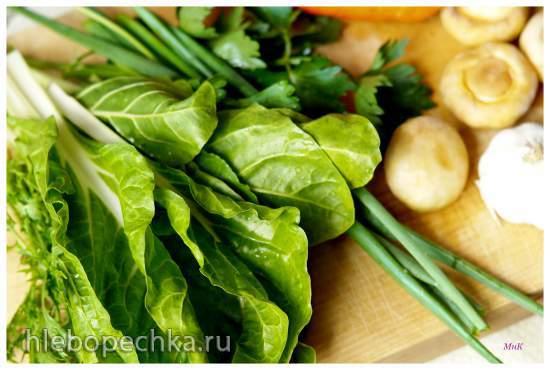 Суп Рамэн с листовой свеклой мангольд