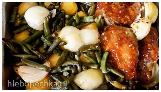Филе индейки, запеченное с картофелем и спаржевой фасолью