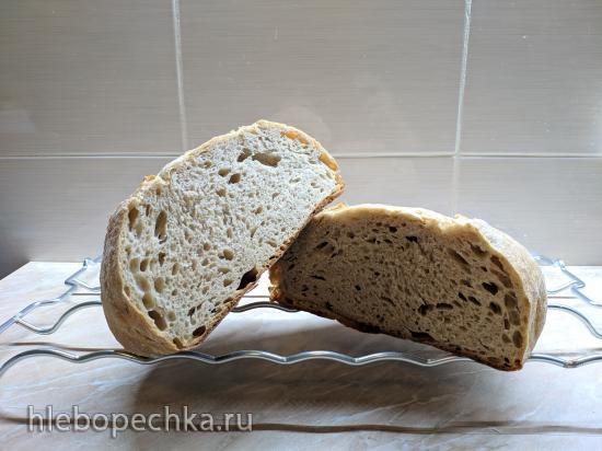 Хлеб на закваске с обойной ржаной и полбяной мукой