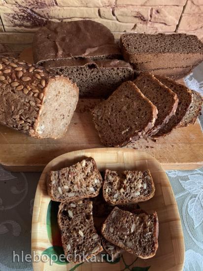 Хлеб на 1-2-3 (вариация - на ржаной закваске с семенами льна и подсолнечника)