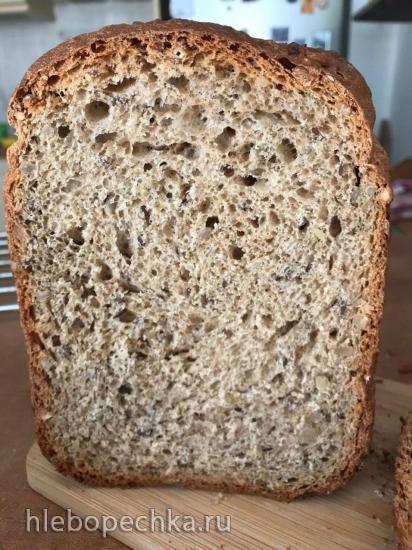 Хлеб с двумя видами цельнозерновой муки в хлебопечке Moulinex