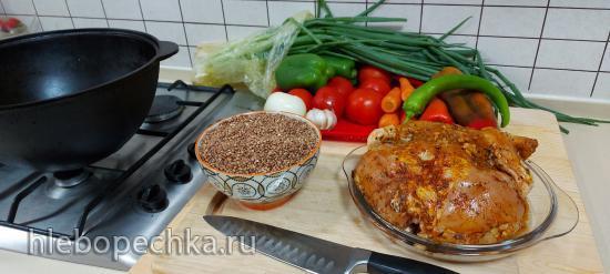 Гречка с овощами и курицей в чугунном казане, запеченная в духовке (+видео)