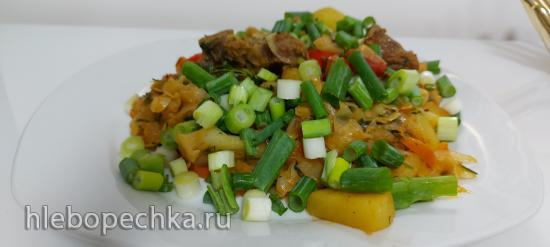 Сборная солянка с капустой, жаренной картошкой и мясом - вкус  из детства (+видео)