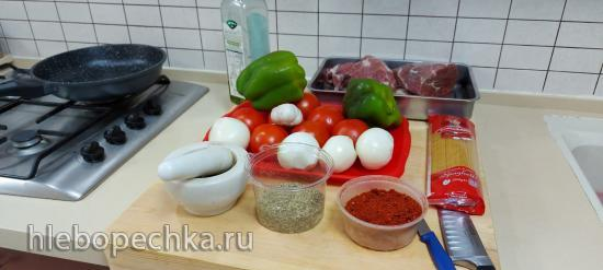 Тефтели с помидорами и сладким перцем без капли масла, на гарнир спагетти (+видео)